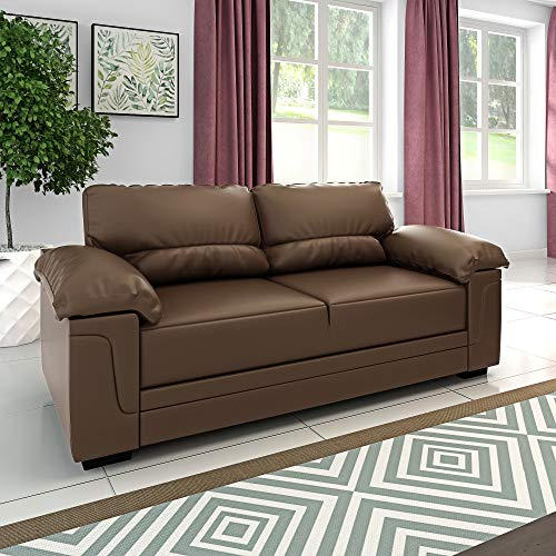 Panana 3 Seater Corner Sofa in Faux Leather Modern Sofa Settee Couch for Living Room Office Lounge (Coffee, 3 Seater)