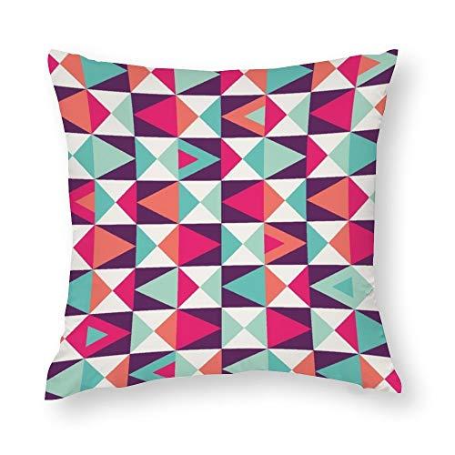 YY-one Fundas de almohada decorativas sin costuras, diseño geométrico colorido de colores, funda de cojín de algodón para sofá, silla, cuadrado, 45,7 x 45,7 cm