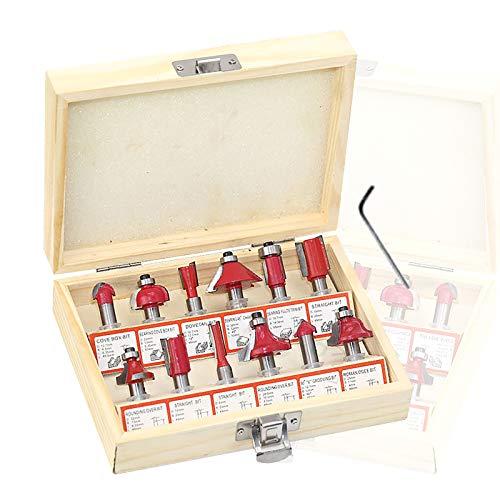 Hezhu Set di frese HM 12 pezzi, codolo scanalato, fresa per fresatrice verticale per legno, set con chiave inglese (6 mm)
