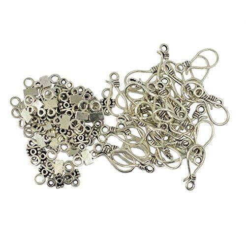 Perfeclan 50 pcs Halskette Anhänger Stecker Kaution Klaue Charms S Form Armband Seile Schnüre