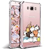 Case for Samsung Galaxy J7 2016 J710 for Girls N Women Clear with Cute Cat Design Shockproof Bumper Protective Cell Phone Cases Flexible Slim Fit Soft Gel Kitten Pattern Rubber Cover