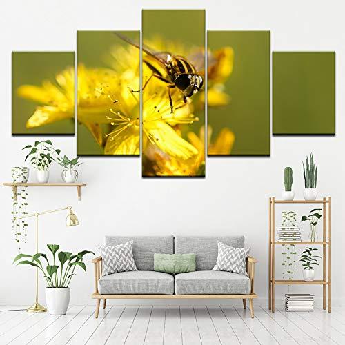 MMLFY 5 opeenvolgende schilderijen canvas schilderij bijen verzamelen honing 5 stuks muurkunst modulaire schilderij achtergrond poster afdrukken voor woonkamer decoratie No Frame 30 x 40 30 x 60 30 x 80 cm.