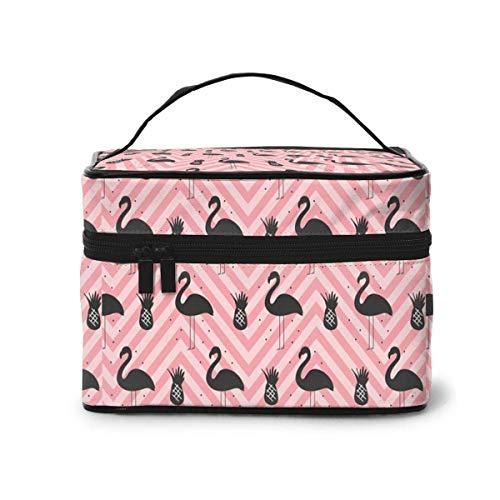 Reisekosmetiktasche Black Flamingo PineapplesToietry Makeup TaschePouch Tote Case Organizer Storage for Women Girls