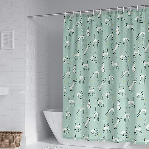 Duschvorhang AFFE Vorhang Badezimmer 100prozent Polyester Anti Schimmel Wasserdicht Waschbar Beschwertem Saum Mit 12 Duschvorhangringen Für Bad Und Badewanne 240X180 cm