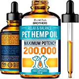 PETCLUBBROTHERS B Hemp Oil for Dogs and Cats - Hemp Oil Drops 200,000 - Made in USA - Rich in Omega 3-6-9 - Hip & Joint Health
