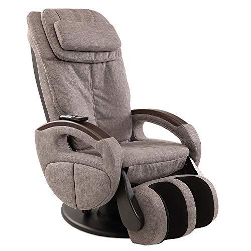 maxVitalis Shiatsu Massagesessel mit Wärmefunktion, Fernsehsessel rollbar, Drehbar, Relaxsessel elektrisch verstellbar, Shiatsu-Massage, 6 Massagearten & 6 Programme (Stoff Graumeliert)