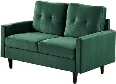 US Pride Furniture Brothir Velvet Loveseat Love Seats, Green