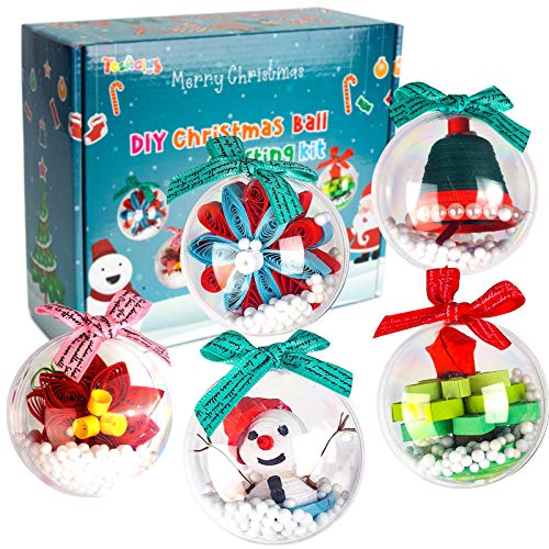 TESMAINS DIY 3D Paper Christmas Ornament Balls- Xmas Party Decorations Kids Supplies-Fun Origami Quilling Craft Kit- for Beginners Kids Boys Girls