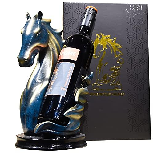 Estante de madera para vino, estante de almacenamiento de vino, mesa plegable, soporte para botella de vino, estante de exhibición para el hogar, cocina, bar, gabinetes (bronce azul)