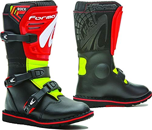 Fora – Botas de Moto Trial para niño y Junior Rock Black/Red Yellow Fluo T34