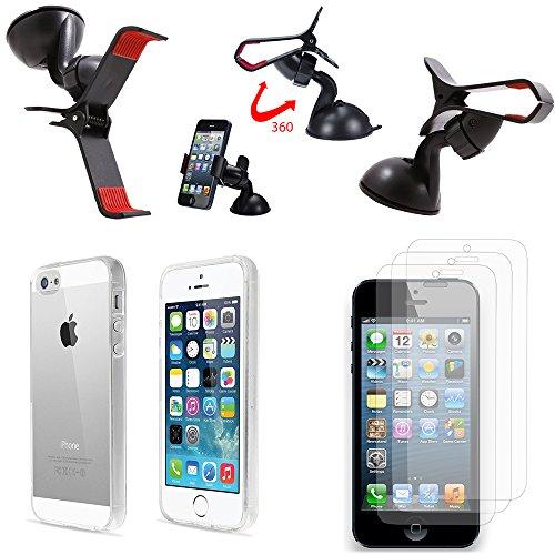 Vcomp® beschermhoes voor Apple iPhone 5 / 5S / SE, ultradun, passend, transparant, incl. 3 displaybeschermfolies en 1 autohouder met draaibare clip