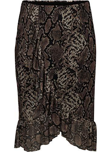 Zizzi dames lange mesh rock, zwart, medium (maat fabrikant: M (46/48))
