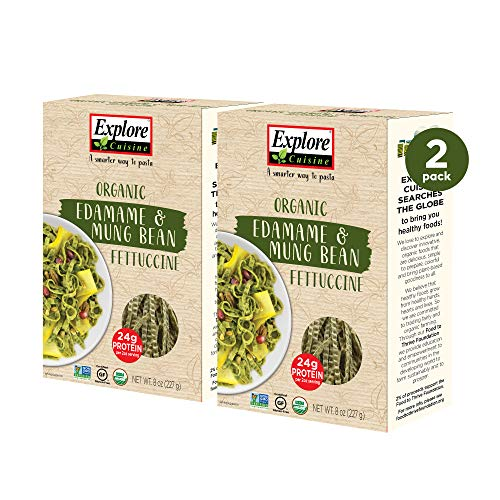 Explore Cuisine Organic Edamame & Mung Bean Fettuccine (2 Pack) - 8 oz - Easy to Make Gluten-Free Pasta - High Protein - USDA Certified Organic, Non-GMO, Vegan, Kosher - 8 Total Servings