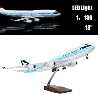 """24-Hours 18"""" 1:130 Scale Model Private Jet Model HK Cathay Pacific B747 Planes Model Kits Display Diecast Airplane for Adults with LED Light(Touch or Sound Control)"""