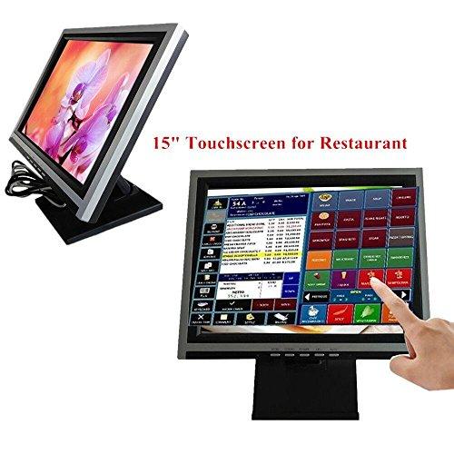 Monitor LCD de 15 pulgadas con pantalla táctil, sistema de cass, TFT VGA USB, pantalla de monitor, PC Windows 7 / 8 POS, para restaurante, cafetería, quiosco, bar