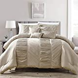 Living Quarters Taupe, 7 Piece Ophelia Oversized Luxury Bed in Bag Microfiber Comforter Set, Queen