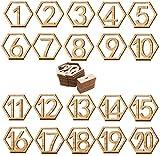 Rodajas de Madera,Liuer 20PCS Soportes de Tarjetas Decoración Número de...