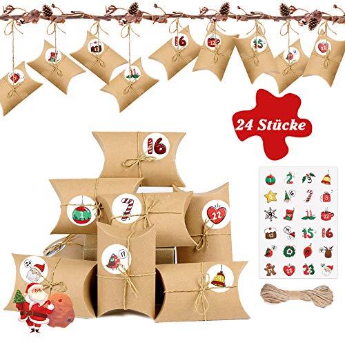 AmzKoi DIY Adventskalender zum Befüllen, 24 Adventskalender Kinder Kraftpapier Tüten mit 24 Zahlenaufklebern, Weihnachtskalender für Basteln und Verzieren, Papiertüten, Geschenkschachtel