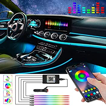 Car LED Strip Light,RGB Interior Car Lights APP Control 16 Million Colors,5 in 1 with 236.22 inches Fiber Optic,Multicolor Ambient Lighting Kits,Music Sync Rhythm and Sound Active Function