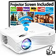 """8500Lumens 5G WiFi Projector, Full HD Native 1080P 4K Projector, Synchronize Smartphone Screen, Compatible with TV Stick/HDMI/PS4/DVD Player/AV for Outdoor Movies [120"""" Projector Screen Included]"""