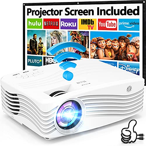 8500Lumens 5G WiFi Projector, Full HD Native 1080P 4K Projector, Synchronize Smartphone Screen, Compatible with TV Stick/HDMI/PS4/DVD Player/AV for Outdoor Movies [120' Projector Screen Included]