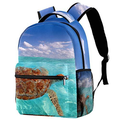 Z&Q Mochila escolar Mochila para niños con patrón Mochila para viajes escolares Tienda de útiles escolares Regalos para niños niñas adolescentes tortuga marina azul 29.4x20x40cm