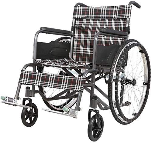 GDD Rollstuh Faltrollstuhl Selbstfahrer Rollstuhl, leicht und Faltrahmen Attendant Antrieb Rollstuhl, Abnehmbare Fußstützen, 24-Zoll-Hinterräder