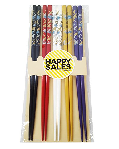 Happy Sales HSCH121/S, Japanese Style Chopsticks Gift Set Crane, Multicolor
