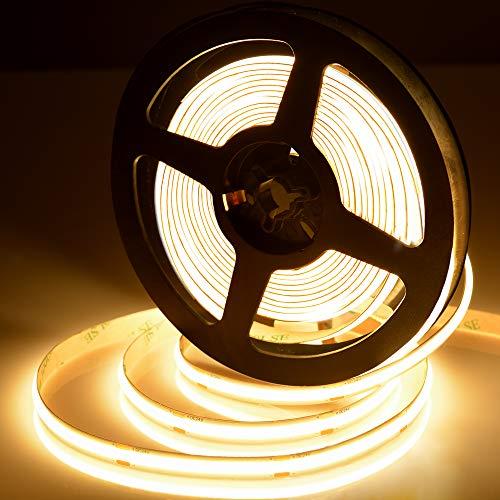 Tira de luz LED COB de 2700 K, luz blanca cálida, 5 m, súper brillante, flexible, CRI90+ FCOB LED, DC24 V, 480 LEDs/m para armario, cocina, hogar, dormitorio, decoración interior