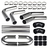 WATERWICH Universal 3' Inch Turbo Intercooler Piping U-Pipe Kit with Clamp &...
