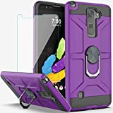 YmhxcY Compatible for LG Stylo 2/Stylo 2 Plus/Stylus 2/Stylo 2 V Case with HD Screen Protector,360 Degree Rotating Ring Kickstand Holder Dual Layers of Shockproof Case for LG LS775-ZS Purple