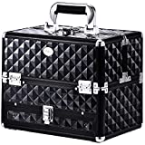 Joligrace Makeup Train Cases Professional Travel Makeup Cosmetic Cases Organizer Portable Box with Drawer Black