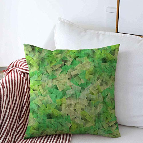 N\A Throw Pillow Case Hexagon Blur Green Cubism Study Patrón Abstracto Borroso Bright Club Color Diseño Creativo Diamond Farmhouse Cojín Cuadrado Fundas de Almohada para Decoraciones del hogar
