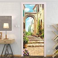 BOXIANGY ドアステッカーヨーロピアンタウンストリートビュー3D壁画リビングルーム寝室家の装飾ポスターPVC自己接着ドアステッカーデカール