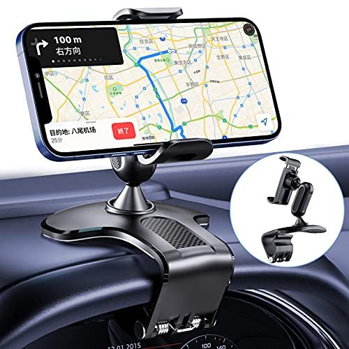 車載ホルダー 片手操作 クリップ式 スマホホルダー車 スマホ車載ホルダー カーマウント スマホスタンド 着脱簡単 縦横向き可能 360度回転 安定性拔群 ダッシュボード・バックミラー・デスクにも適用 互換性が高い カー用品 4.7-7インチ多機種に対応 iPhone12/11/X/XS/Sony/Samsung/HUAWEI/Oneplus/SAMSUNG Galaxyなど機種対応 (ブラック)