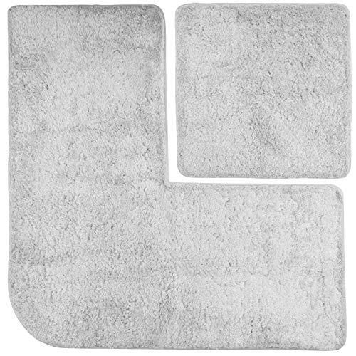 FLUFFY Badteppich-Set - Vorleger für Eckduschen und Wand-WC, Hochflor aus Mikrofaser, rutschfeste Unterseite (Grau)