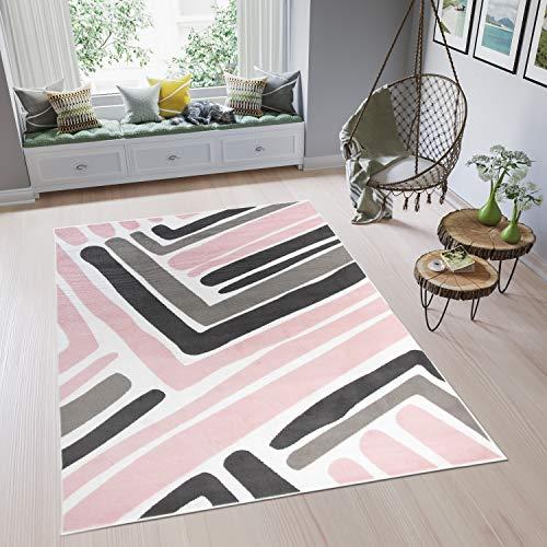 TAPISO Pimky Tapis de Salon Chambre Ado Design Moderne Rose Blanc Gris Noir Géométrique Rayures Doux Fin 120 x 170 cm