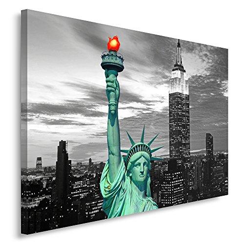 Feeby Frames, Cuadro en lienzo, Cuadro impresión, Cuadro decoración, Canvas 80x120 cm, NUEVA YORK, ESTATUA DE LA LIBERTAD, BLANCO Y NEGRO