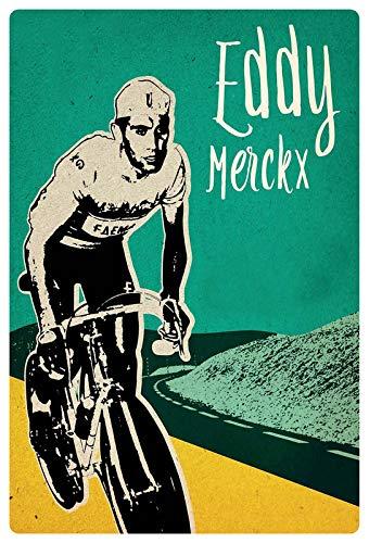 Blechschild 20x30cm gewölbt Rad Rennen Fahrer Eddie Merckx Radrennfahrer Deko Geschenk Schild
