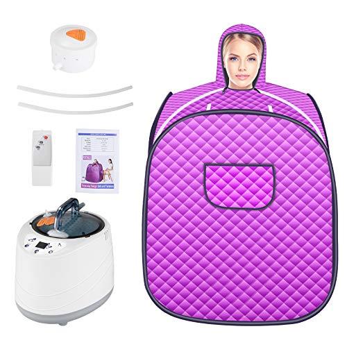 Kacsoo Portable Infrarot-Sauna 220V 1000W Zuhause Dampfsauna Heimsauna mit Dampferzeuger 2 Liter Personal Spa Body Abnehmen Gewicht Heater Entgiften mit drahtloser Fernbedienung