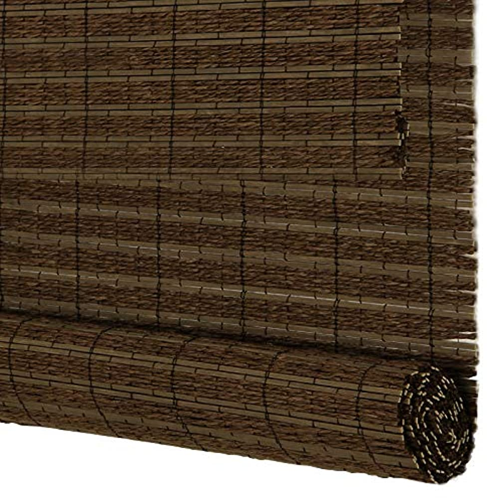 PASSENGER PIGEON Bamboo Window Blinds, Gently Filters Light into Room Bamboo and Linen Mix Weaved Roll Up Blinds Shades with Valance, 33