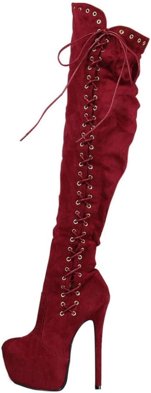 Damen Wildleder Cross Straps Spitze Zehe Kniehohe Stiefel für für für Herbst Winter, stilvolle 10cm High Heels Schuhe mit Schnürsenkel 71b