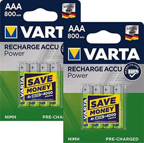 8X Varta 56703 Accu HR03 Micro AAA Ready2use Longlife 800mAh 8er-Packung
