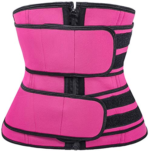 Pandolah Women's 2 Velcros Waist Cincher Tummy Control Shapewear Corset Workout Waist Belt Rose Red S