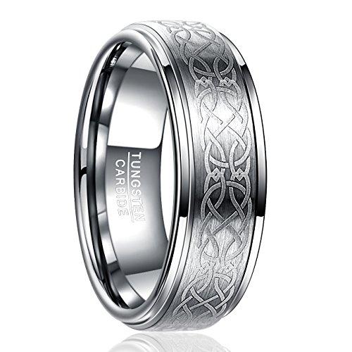 NUNCAD Anello Celtico in Argento 8mm, Anello in tungsteno Unisex per Matrimonio, Anniversario, Partnership, Taglia 57 (17)