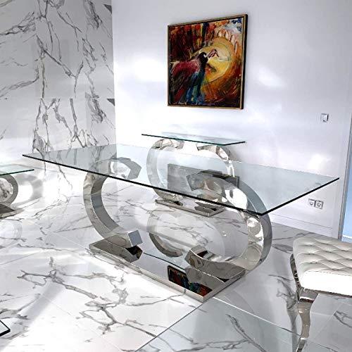 HG Royal Estates GmbH Christy Esstische Edelstahl Esszimmer Tisch Glastische Glas Hochglanz - 200x90x75cm