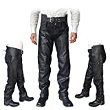 4Fit Unisex Braided Black Leather Biker Motorcycle Chaps New All Sizes (Small)
