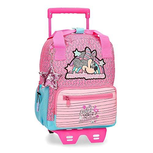 Mochila Minnie Pink Vibes Preescolar 28cm con Carro, Rosa, 23x28x10 cm