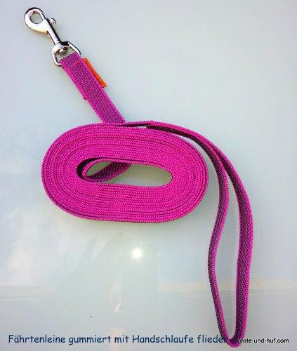 elroet rubberen hondenriem rijlijn sleeplijn 15 m met polsriem lila
