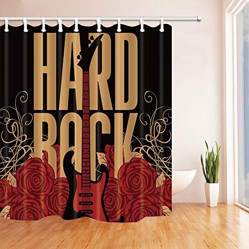 BuEnn Hard Rock-Dekor-Vektor-Gitarre in roter Rose für Musikliebhaber Mehltau-widerstandsfähiger Polyester-Stoff-Duschvorhänge für Badezimmer-Duschvorhang-Haken eingeschlossen 71X71 im Schwarzen